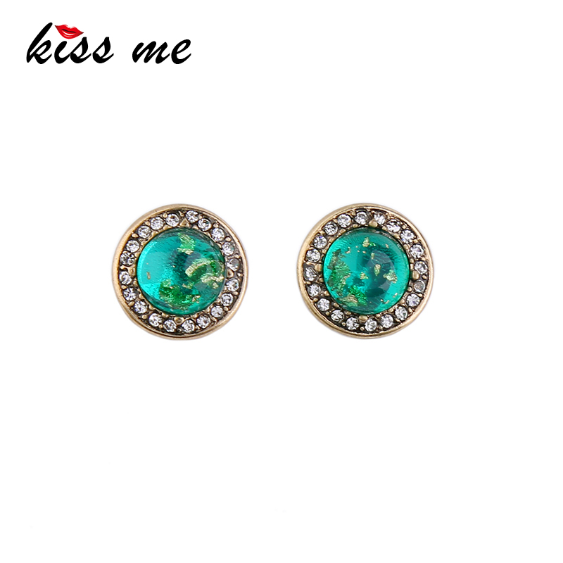 KISS ME 2 Colors Cute Small Round Crystal Earringss