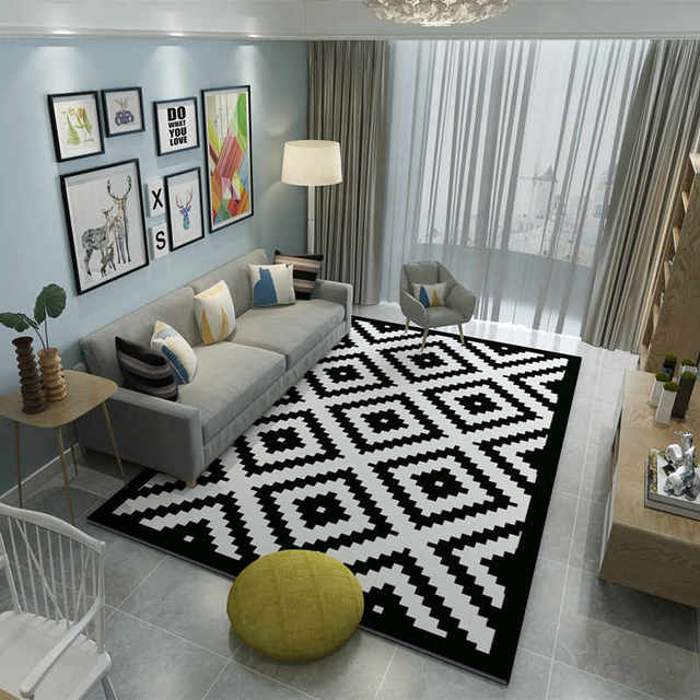 Brand Carpets Bedroom Area Rugs Washable Mat Black White Rectangle Carpet Living Room Geometric Decoration
