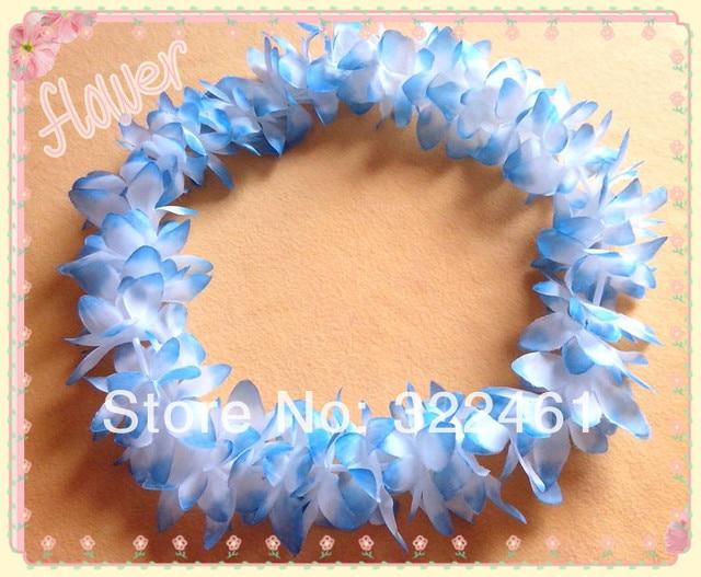 10pclot Silk Flower Lei Fleur Artificielle Light Blue Hawaiian Lei