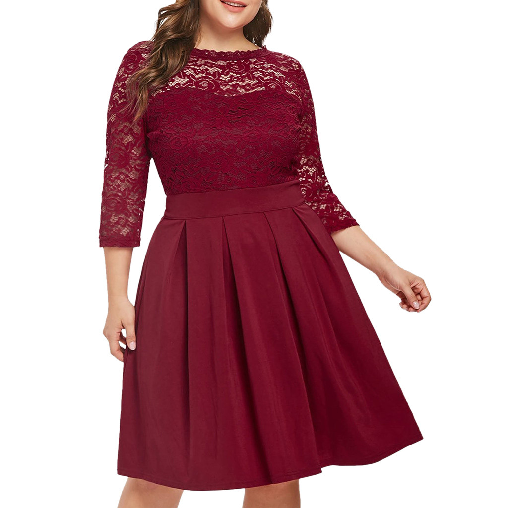 US $8.03 42% OFF|JAYCOSIN Casual Dress Woman 5XL Big Size Dress 2019 Autumn  Dresses Women Plus Size Solid Color Lace Party Evening Prom Vestido-in ...