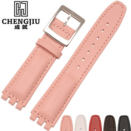 37d1c922b49 For Swatch Leather Watch Band 17 mm Clock Pink Silver Punch Women Watches  Band Straps Wristband Bracelet Belts Wacht Relogio