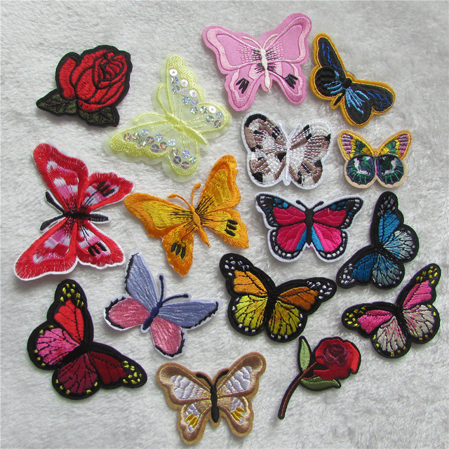 all kinds of butterfly Small Patch Computer Embroidery Hand Sewing Ironing  Sticker On Cloth Garment Hat Bag Accessories 8998ce921