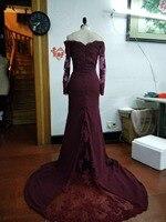 Burgundy Mermaid Long Bridesmaids Dresses 2017 Appliques Party Dress Long Sleeve Prom Party Dresses