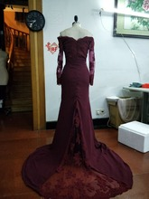 Burgundy Mermaid Long Bridesmaids Dresses 2017 Appliques Party gown Long Sleeve Prom Party clothes