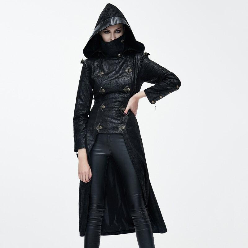 Devil Fashion Gothic Ninja Style Faux Leather Long font b Jacket b font for font b