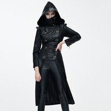 Devil Fashion Gothic Ninja Style Faux Leather Long Jacket for Women Steampunk Slim-Fitting Autumn Winter Hooded Coats Overcoats