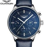 Hommes sport montres étanche D'origine marque GUANQIN top qualité lumineux bracelet en cuir quartz montre hommes grosse montre homme de luxe
