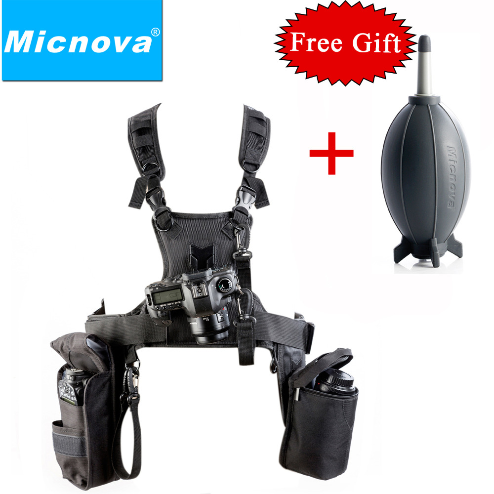 Micnova MQ-MSP07 Carrier III Triple Camera Carrier Photographer Vest with Triple Side Holster Strap for Canon Nikon DSLR Camera цена и фото