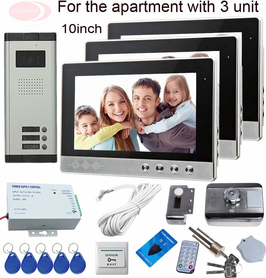 Sunflowervdp Video Doorphone Systems 10inch 3 Screens Color Rfid Electronic Door Lock Doorphone Intercom For 3 Apartments/Floors