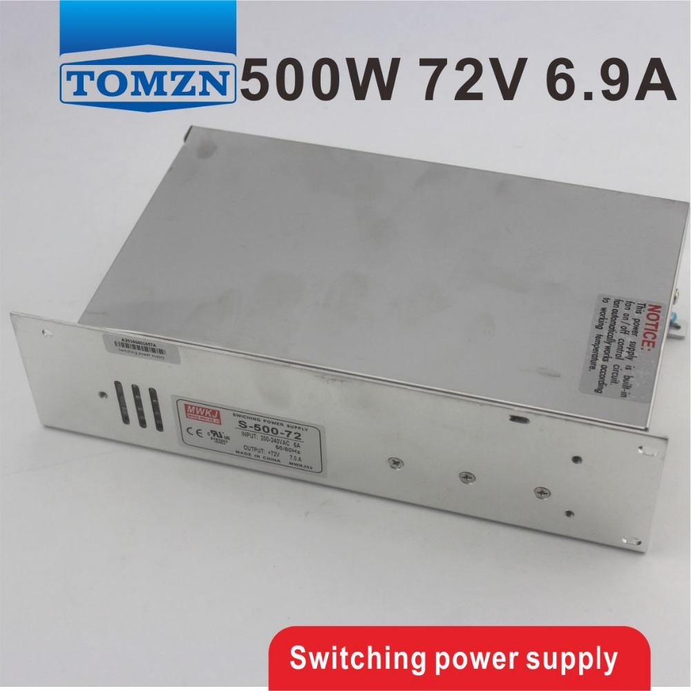500W 72V 6.9A 220V INPUT Single Output Switching power supply for LED Strip light AC to DC best quality 12v 15a 180w switching power supply driver for led strip ac 100 240v input to dc 12v