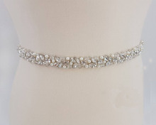 MissRDress Handgemaakte Bruiloft Riem Zilver Crystal Bridal Sash Steentjes Parels Bruids Riem Voor Trouwjurken JK927