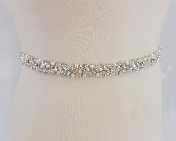 MissRDress Handmade Wedding Belt Silver Crystal Bridal Sash Rhinestones Pearls Bridal Belt For Wedding Dresses JK927