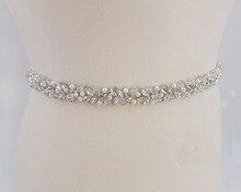 MissRDress Handmade Wedding Belt Silver Crystal Bridal Sash Rhinestones Pearls Bridal Belt For Wedding Dresses JK927