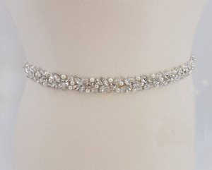 Image 1 - MissRDress Handmade Wedding Belt Silver Crystal Bridal Sash Rhinestones Pearls Bridal Belt For Wedding Dresses JK927