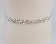 MissRDress בעבודת יד חתונה חגורת כסף קריסטל כלה אבנט Rhinestones פניני כלה חגורת לחתונה שמלות JK927