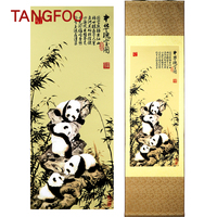 Chinese Characteristic Scroll Painting Silk Painting National Treasure Panda Figure Cute Classic Wall Picture Hanging Home Decor