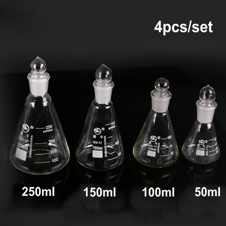 50ml, 100ml, 150ml, 250ml 4pcs/set/lot Glass conical flask with cover цена