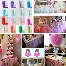 15cm*25yard Tulle Tutu Table Skirt Custom Wonderland Skirting Wedding Birthday Baby Shower Party Decoration Supplies