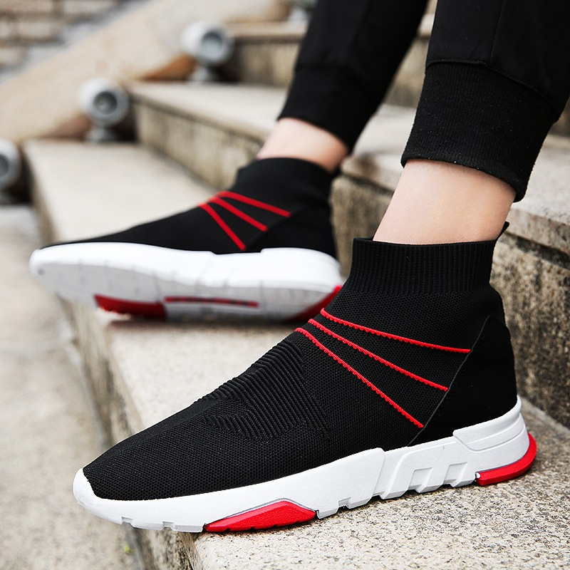 2018 High Top Men Casual Shoes Slip On Male Fashion Striped Footwear Hip Hop Unisex Couples Sock Shoes Mens Breathable gran epos 2017 new mens casual shoes man flats breathable fashion low high top shoes men hip hop dance shoes for male zapato