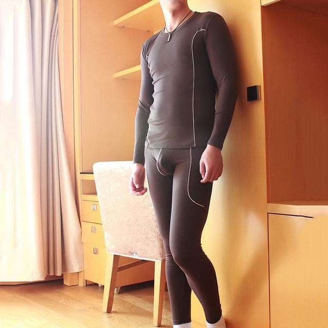 Venta caliente Long Johns Ropa Interior Masculina de Fibra de Bambú Caliente del Otoño Conjuntos de Ropa Interior Térmica O-cuello de la ropa de Noche Tops + Pants