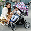 Four-wheel stroller high landscape pram suspension flat folding trolley cart portable children