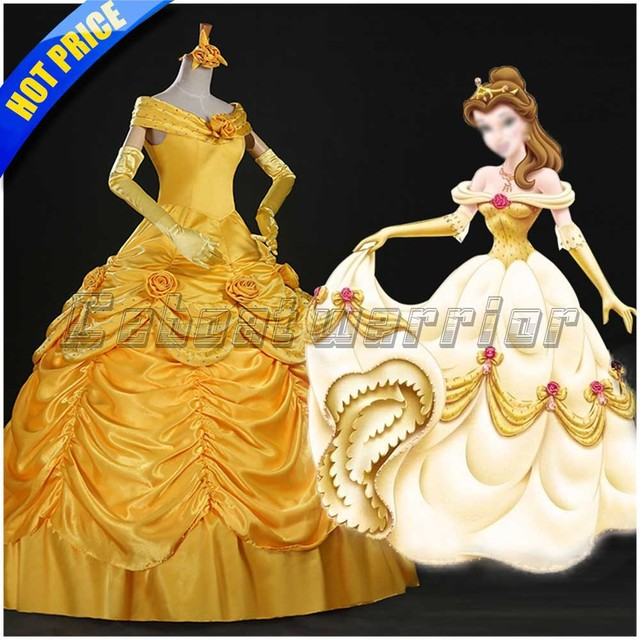 c1c4f4c923f691 Movie Schoonheid en het Beest cosplay volwassen prinses Belle cosplay  kostuum gele jurk Custom made