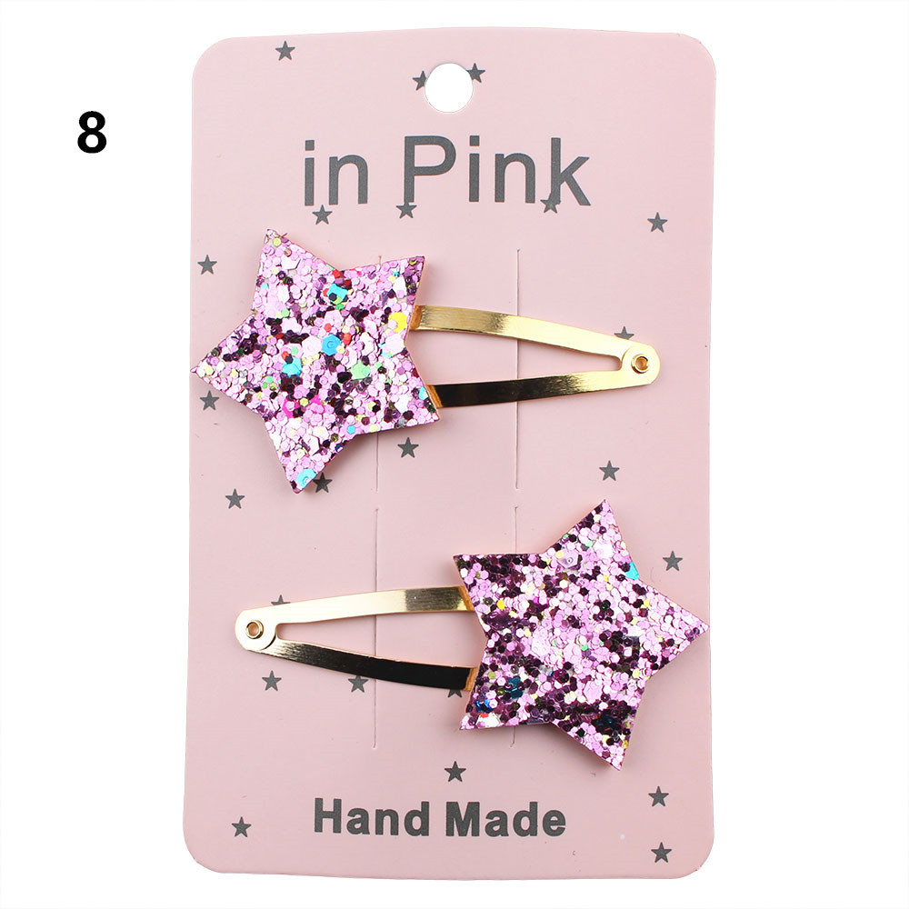 2pcs set Five Stars Glitter Hairpin Hair Clips For Women Girl Children Hair Bangs Barrette Party Wedding Bride Hair Accessory in Hair Jewelry from Jewelry Accessories