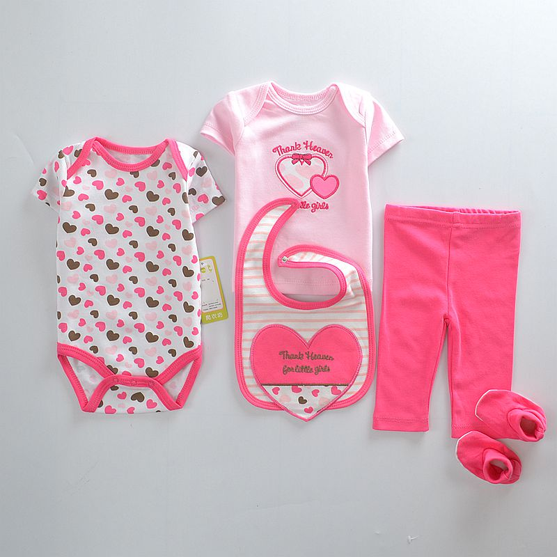 Payifang Baby Clothes Suits 5-pieces Set Love Bodysuit pant t-shirt sock bib 5pcs sets Pink ropa de bebe roupas ...