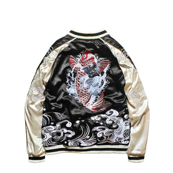 2019 Spring New Jacket Double-sided Wear Yokosuka Jacket Male and Female Lovers Heavy Dragon Embroidered Pilot Bomber Jackets
