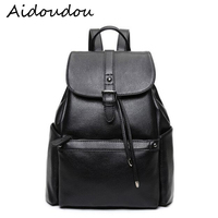 Genuine Leather Women Black Backpack Fashion Leisure Girls Travel Bags High Quality Preppy Style Teenage Girls