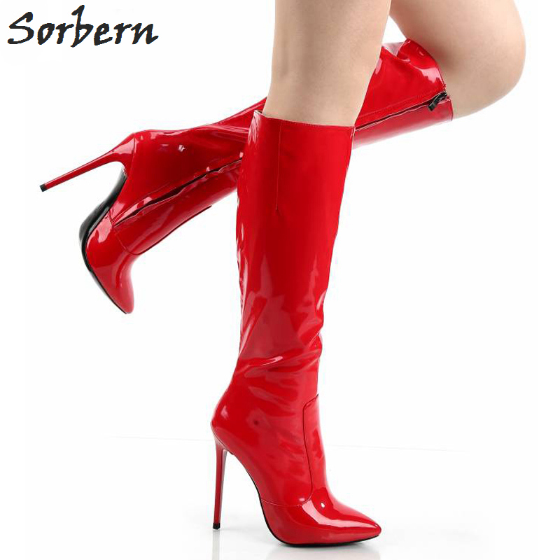 Sorbern Woman High Top Shoes Red Boots Super Thin High Heels Knee High Boots Size 10