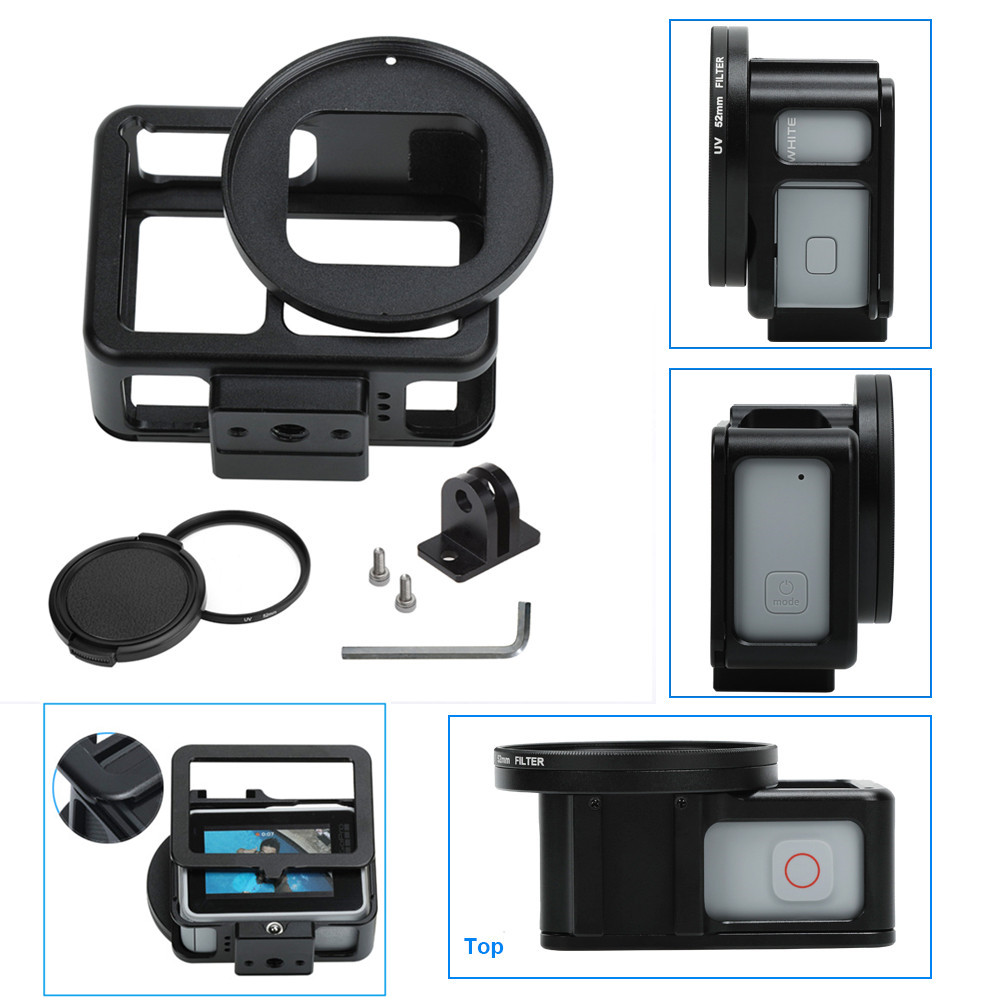 Aluminum Accessories Protective Case Mount For for Go pro Hero2018 Hero7 6 5 Camera Mounts Frame with 52mm UV Lens Backdoor
