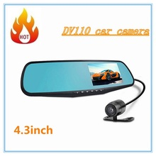 "Car DVR Camera Dual Camera  Video Recorder Camcorder Rearview Mirror Dash Cam G-Sensor HD 1080P 4.3"" 170 Degree night vision"