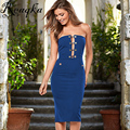 Europe club Party Strapless dress women Off the Shoulder Solid Sheath Button Hollow dress 2016 New pocket Blue Red Black dresses