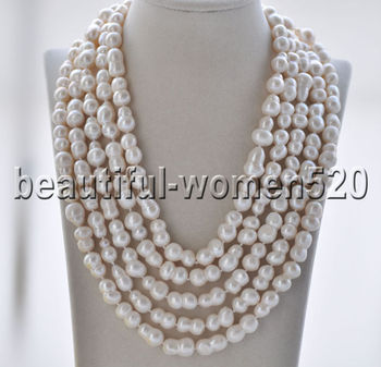 Z8865 Long 19mm White Double Freshwater Pearl Necklace 100inch