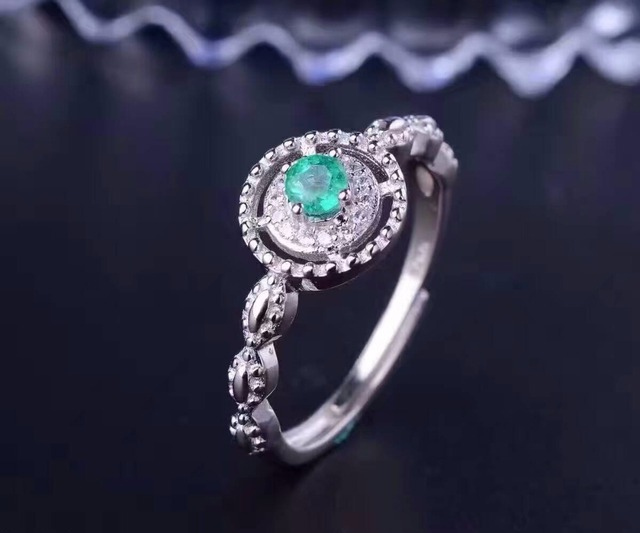 Vintage natural emerald wedding ring 3.5mm round flawless natural emerald engagement ring solid 925 silver emerald gemstone ring
