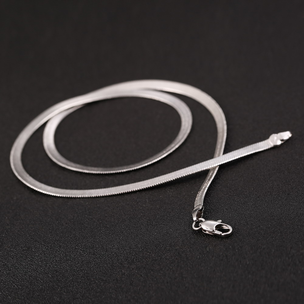 Fashion Silver Blade Chain Flat snake chain Necklace For Women Man Fashion Jewelry Flat Length 45cm Silver statement necklace
