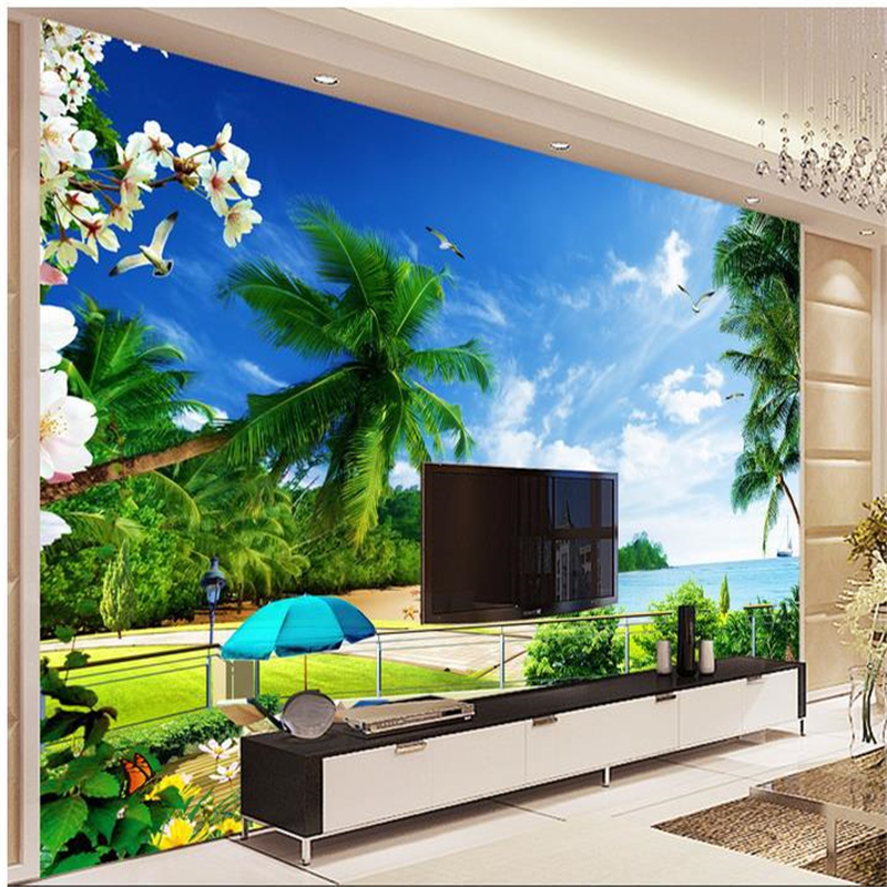 Beibehang 3d Wall Murals Wallpaper Beach Views Backdrop Murals TV Backdrop  Wallpaper Living Room Bedroom Waterfall