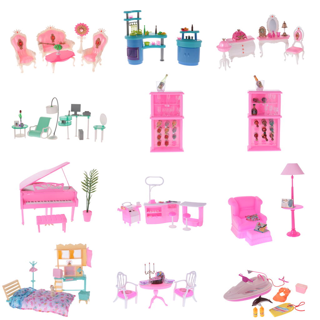New 1:6 Dollhouse Luxury Plastic Furniture Play Set for Barbie Toy 1/6 Doll House Decor Accessories Clssic Toys for Kids Gift plastic