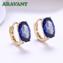 Classic 2 Color CZ Cubic Zirconia Circle Hoop Earring For Women Girls Anti-Allergic Earrings Jewelry