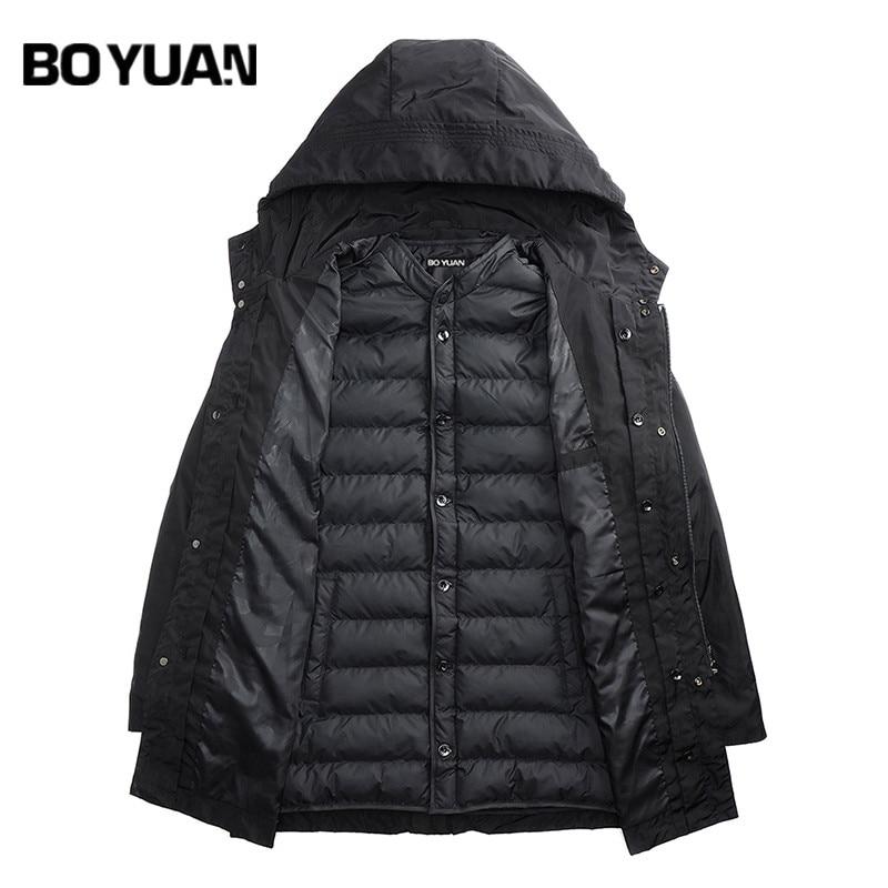 BOYUAN Winter Men's Parka Warm Thick Jackets Men Hooded 2 Pieces Set Parkas Outerwear Men Coat Hood Solid Clothing New HX2787