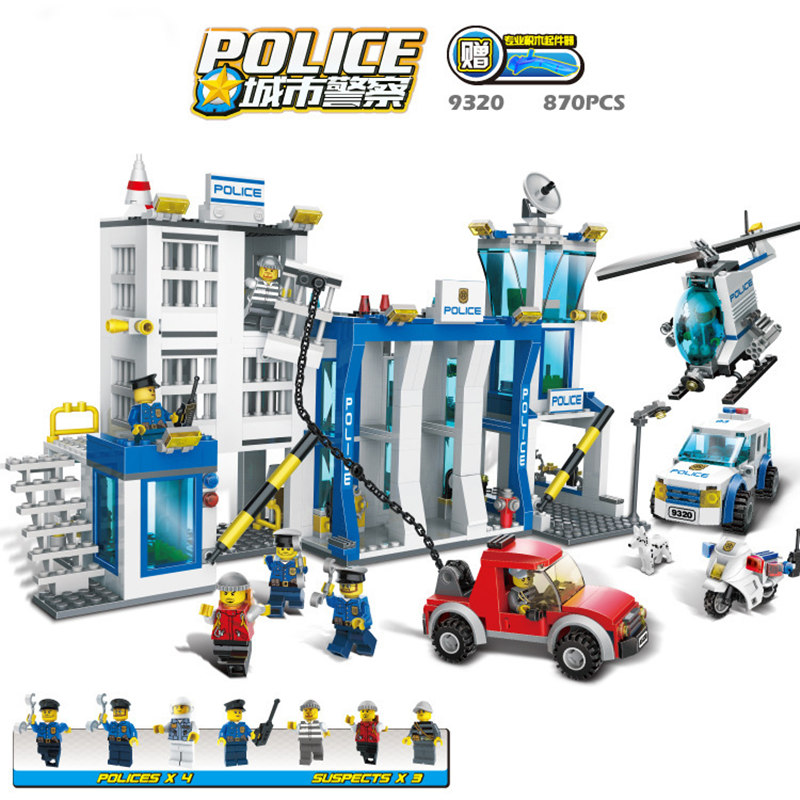 Police Station Model Building Kit Blocks Playmobil Helicopter Blocks DIY Bricks Educational Toys Compatible LegoINGS City Police police station building blocks sets model 300pcs helicopter speedboat educational diy bricks toys for children ts10121