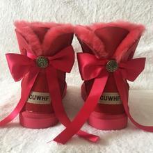 Grwg 2018 Novo Estilo Clássico de Inverno Mulher Botas de Neve Genuína Pele De Carneiro das Mulheres Botas Quentes Botas Sapatos de Alta Qualidade