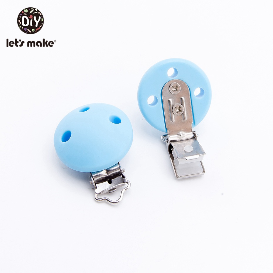 Let'S Make 10pcs Holder For Silicone Pacifier Clip For Nipple Infant Baby Round Teether Metal Dummy Clips Chains