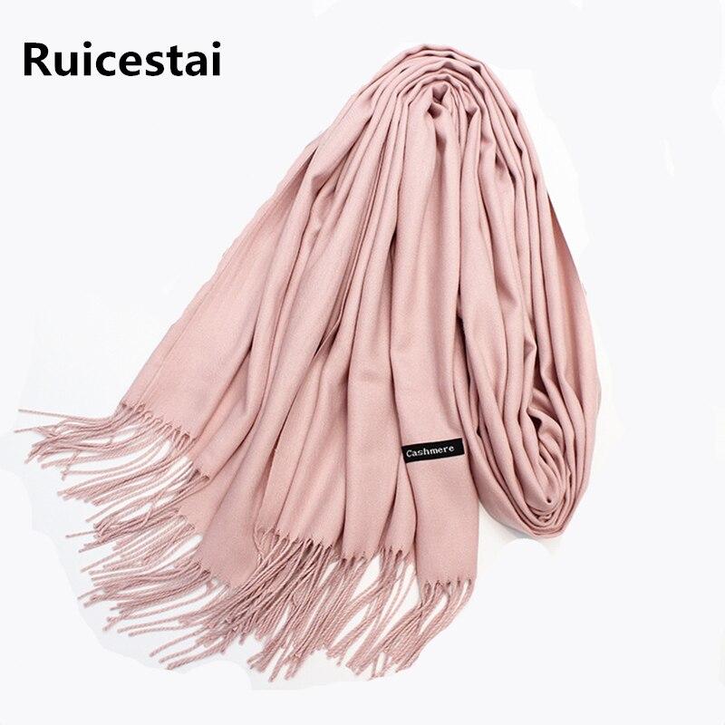 Heißer verkauf 2018 marke frauen winter schals schals kaschmir schal wrap dame pashmina solide lange größe weiche bandana foulard weibliche