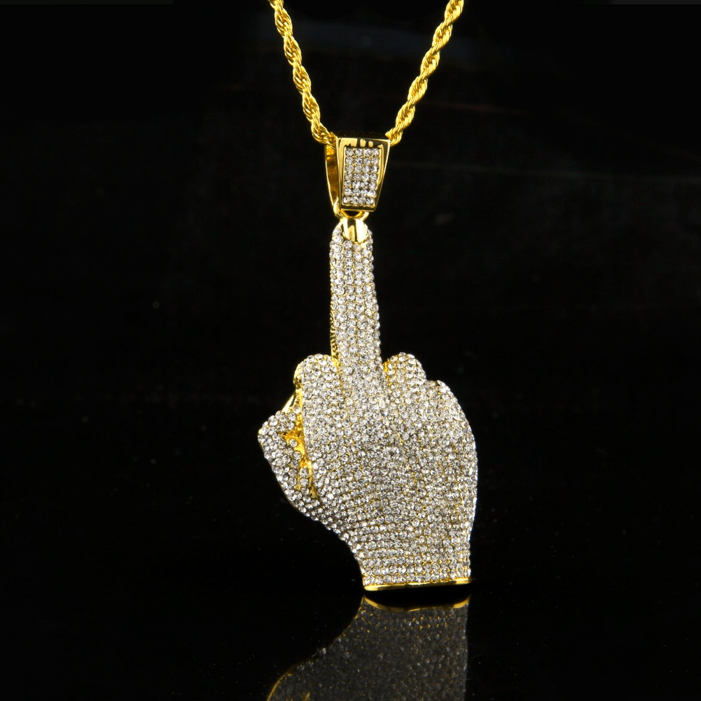 Hip Hop Me Iced Out Big Hands Pendants Necklace Rhinstone Rapper Big finger  Hand Shape Jewelry For Gifts N605-in Pendant Necklaces from Jewelry ... 410497391