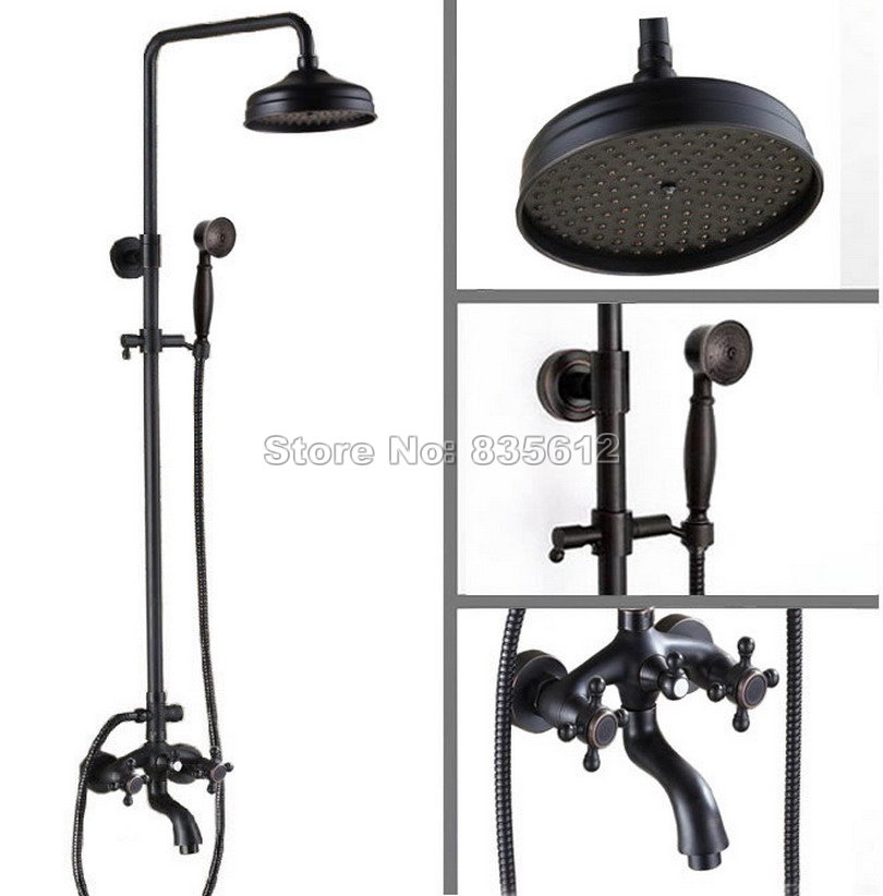 Bathroom 8 inch Black Oil Rubbed Bronze Rainfall Shower Set Faucet + Tub Mixer Tap + Handheld Shower Wall Mounted Wrs452