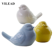 VILEAD 5.1 Ceramic Magpies Bird Figurines 3 Colors Magpie Ornament Statue Animal Birds Model Home Decor Creative Gift for Kids