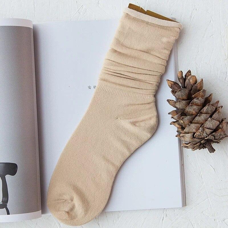 Accatastato calzini Giapponese femminile di autunno e di inverno del cotone sezione sottile lunghi stivali calze di cotone bocca sciolto curling U8001