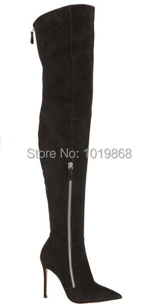3a8939d4d47 Jennifer Hudson wearing Black Suede Boots Side Zipper Over The Knee ...